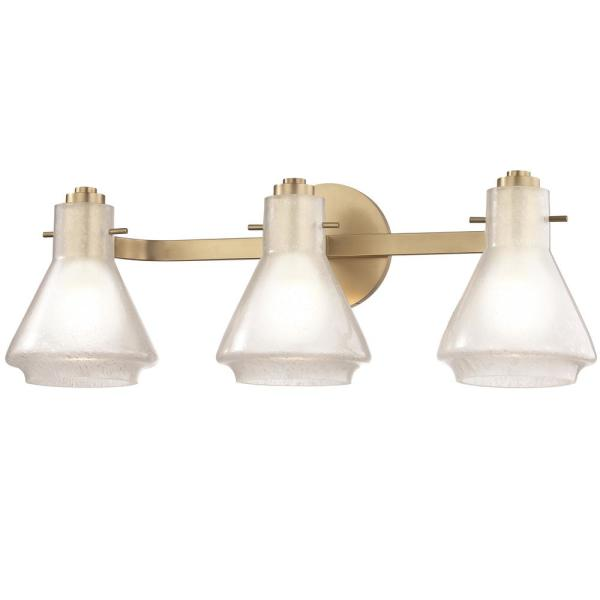 Rosie 3-Light Aged Brass Bath Light with Clear Glass Outside Etched Glass Inside