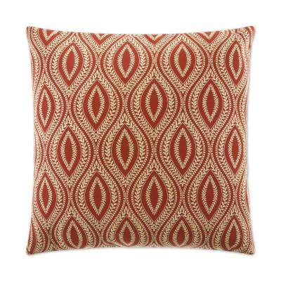 Carino Paprika Feather Down 24 in. x 24 in. Standard Decorative Throw Pillow