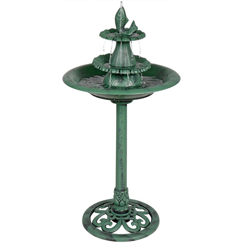 Alpine Corporation 3-Tiered Pedestal Fountain and Bird Bath with Fish Design