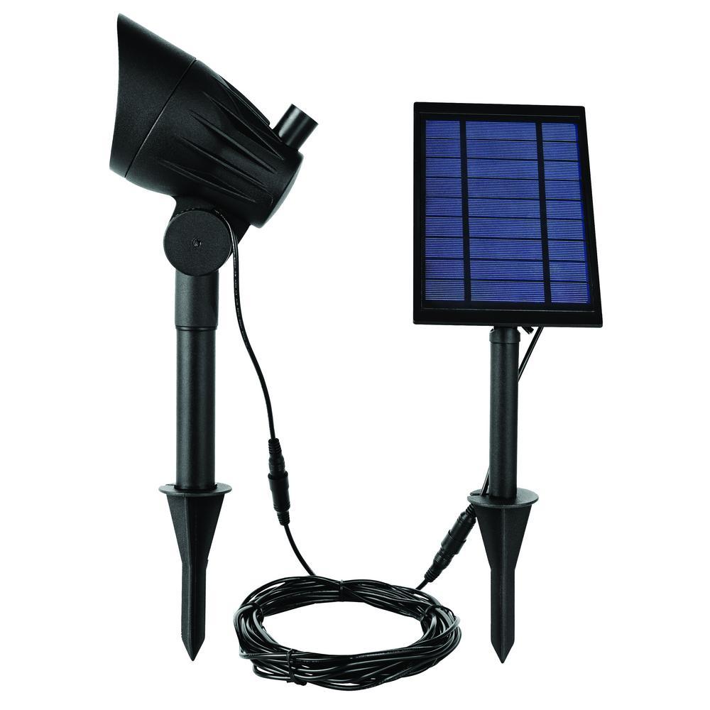 Solar Black LED 100 Lumen Metal Spotlight