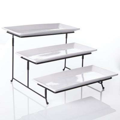 Gracious Dining 4-Piece White 3-Tier Fine Ceramic Cake Stand with Metal Rack
