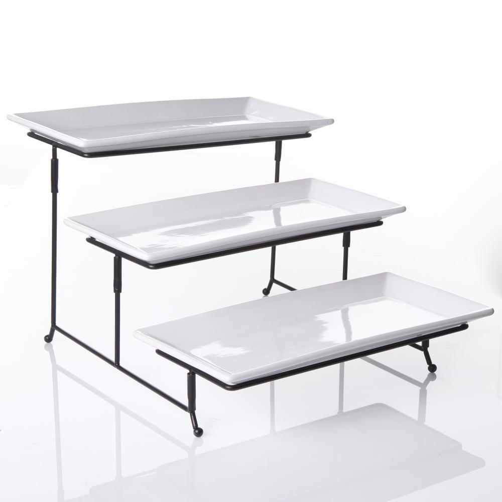 Gracious Dining 4 Piece White 3 Tier Fine Ceramic Cake Stand With Metal Rack