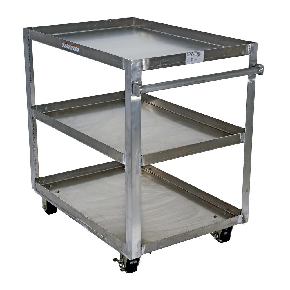 Vestil Aluminum Service Cart with Three 28 in. x 48 in. Shelves