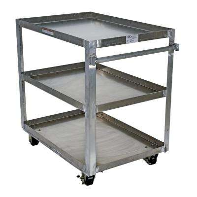 Aluminum Service Cart with Three 28 in. x 48 in. Shelves