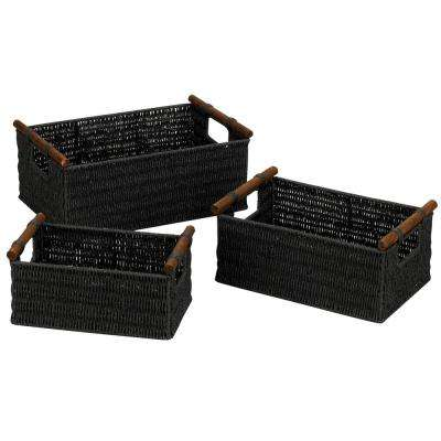 Black Stained Paper Rope Basket with Wooden Handle (Set of 3)