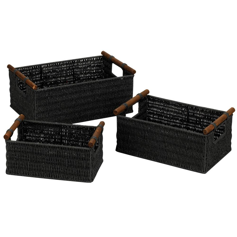 Black Stained Paper Rope Set of 3 Basket with Wooden Handle