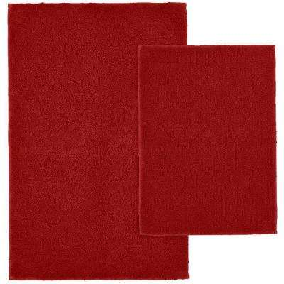 Queen Cotton Chili Pepper Red 21 in. x 34 in. Washable Bathroom 2-Piece Rug Set