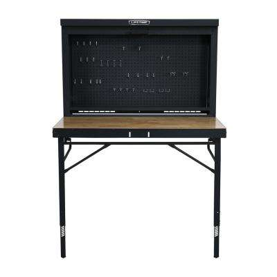 47 in. L x 31 in. D x 60.5 - 71.5 in. H Wall-Mounted Folding Work Table
