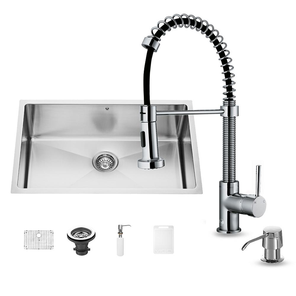 VIGO All-in-One Undermount Stainless Steel 30 in. Single Basin Kitchen Sink and Faucet Set in Chrome