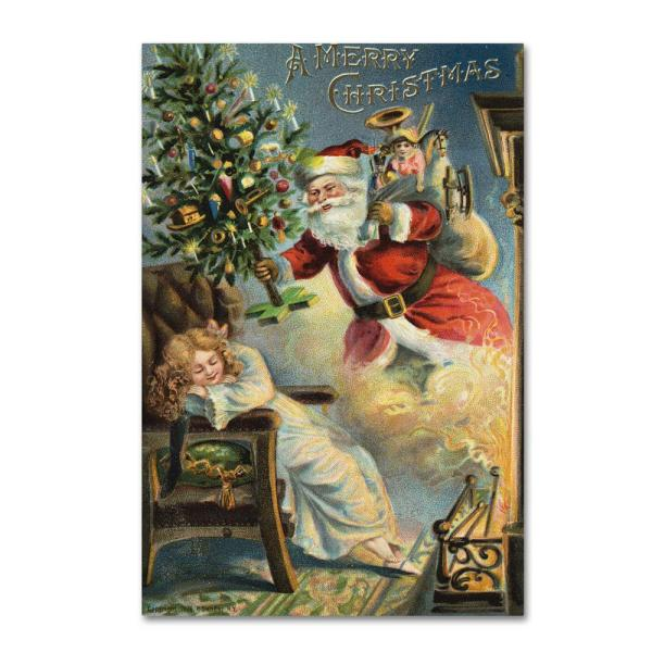 trademark fine art 16 in x 24 in merry christmas santa by vintage apple collection floater frame culture wall art ali6439 c1624gg the home depot the home depot