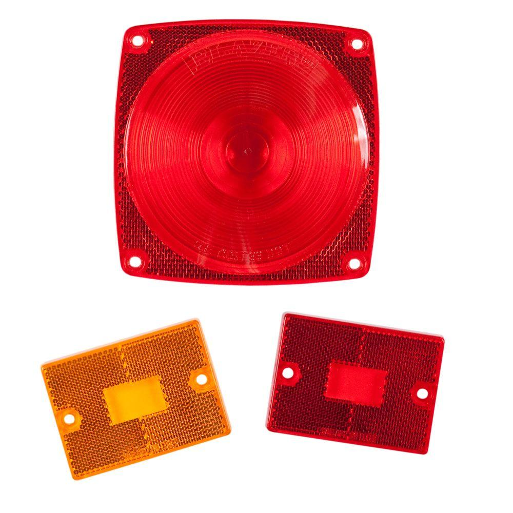 Replacement Lenses 4-9/16 in. and 2 in. Stop/Tail/Turn/Clearance Kit Red and