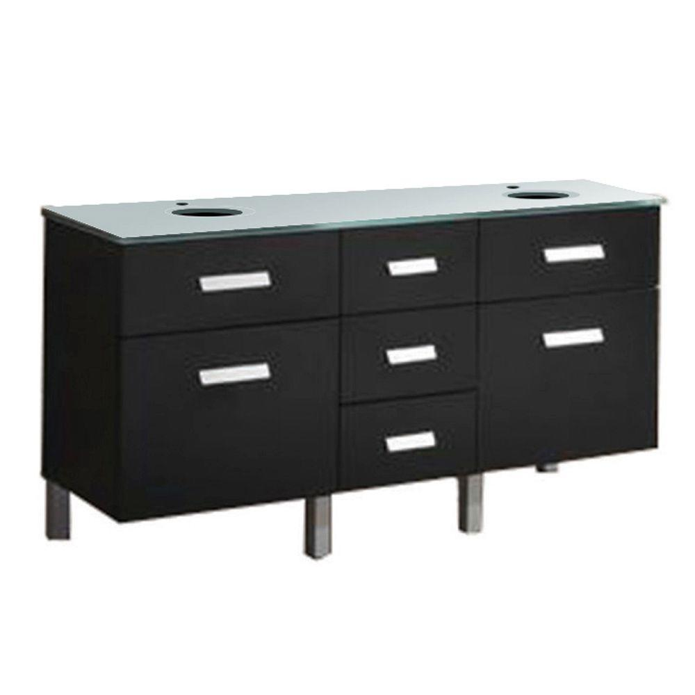 Virtu USA Maybell 56 in. Bathroom Vanity in Espresso with Glass Vanity Top Only in Aqua-DISCONTINUED