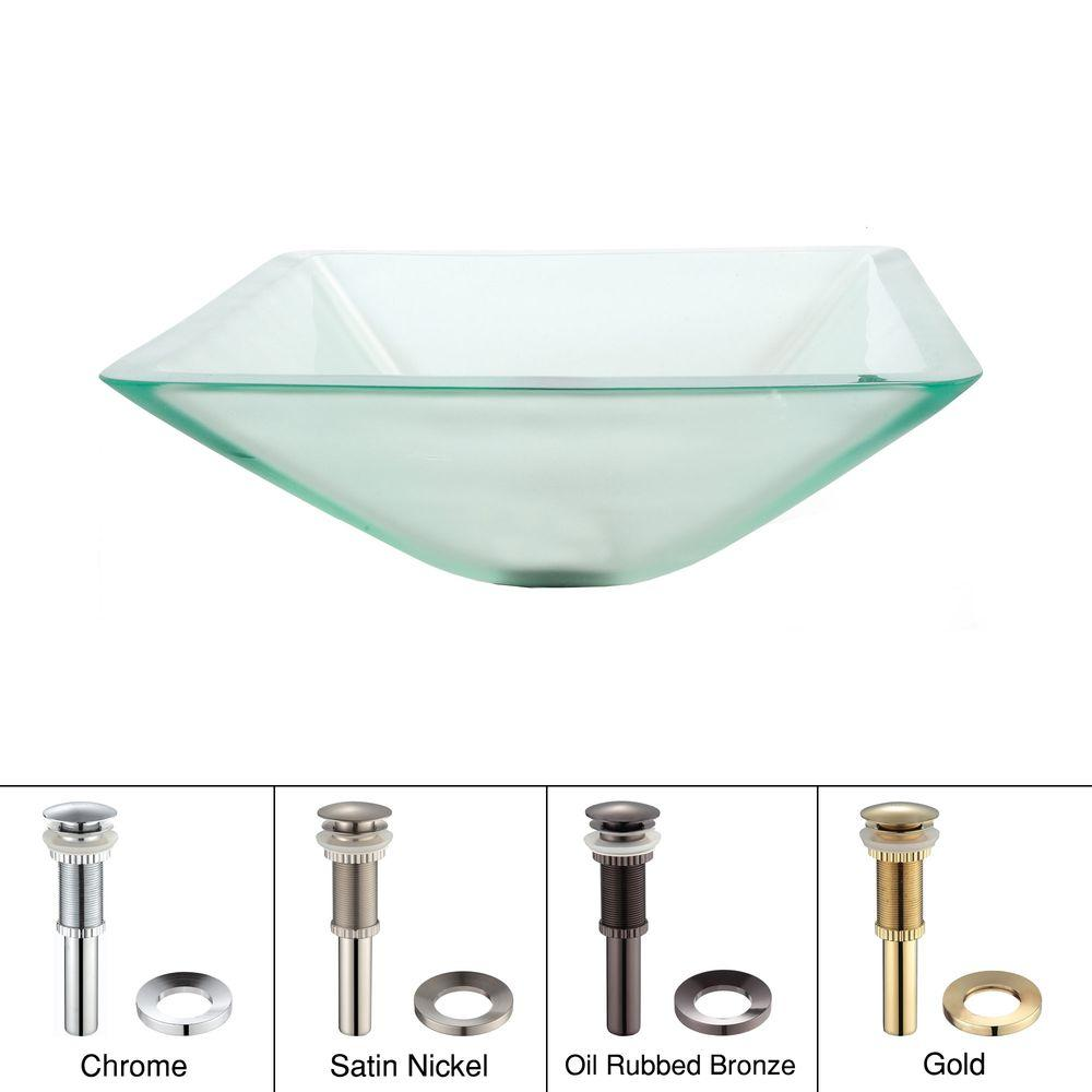 KRAUS Glass Vessel Sink in Aquamarine Frosted with Pop up Drain and Mounting Ring in Gold-DISCONTINUED