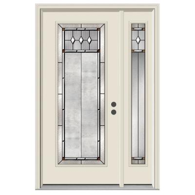 52 in. x 80 in. Full Lite Mission Prairie Primed Steel Prehung Left-Hand Inswing Front Door with Right-Hand Sidelite