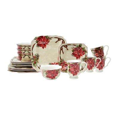 Yuletide Celebration Red 16-Piece Dinnerware Set Square