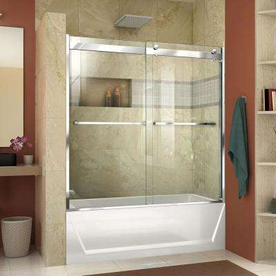 Essence-H 60 in. x 60 in. Semi-Frameless Sliding Tub Door in Chrome