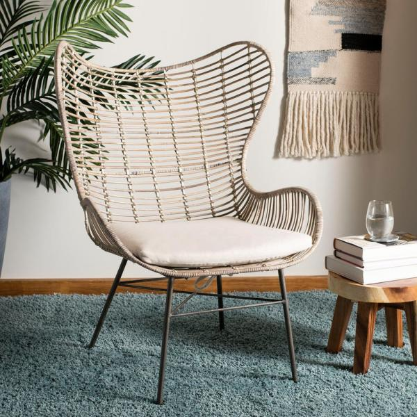 Outstanding Safavieh Malia White Wash Rattan Wingback Accent Chair Ocoug Best Dining Table And Chair Ideas Images Ocougorg