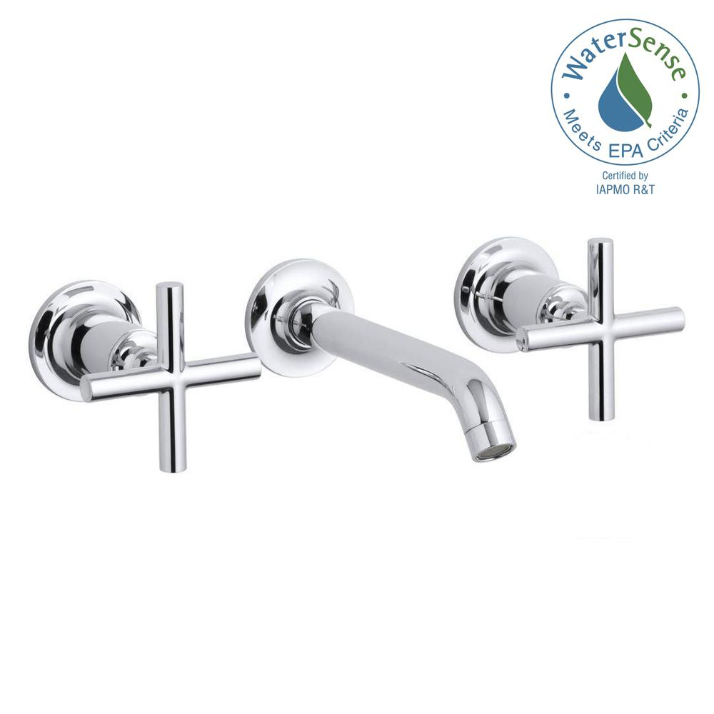 KOHLER Purist 8 in. 2-Handle Low-Arc Wall Mount Water-Saving Bathroom Faucet Trim Only in Polished Chrome