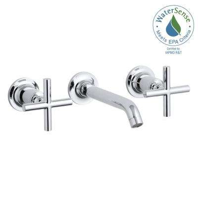 Purist 8 in. 2-Handle Low-Arc Wall Mount Water-Saving Bathroom Faucet Trim Only in Polished Chrome