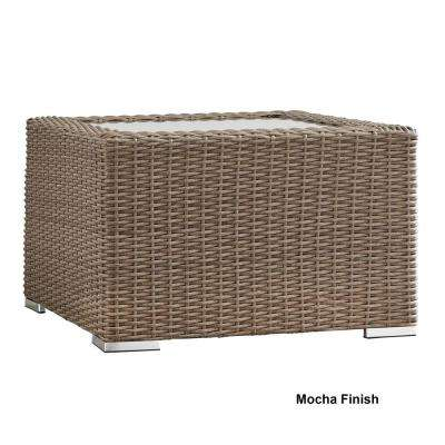 Camari Mocha Wicker Outdoor Accent Table with Glass Top