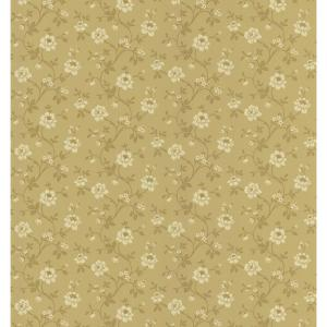 Cottage Living Brown Stencil Floral Wallpaper Sample
