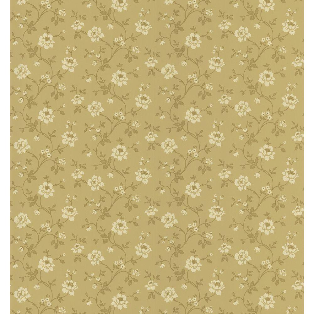 Cottage Living Brown Stencil Floral Wallpaper Sample
