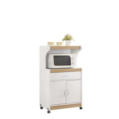 1-Drawer White Microwave Cart