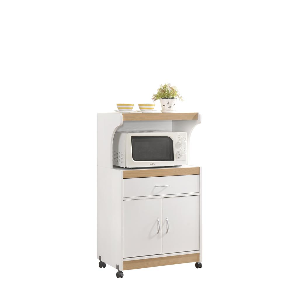HODEDAH White Microwave Cart with Storage Contemporary and functional, this HODEDAH Microwave Cart is the perfect solution for your kitchen storage needs. The large open storage space at the center houses your microwave. The top shelf can be used to store your toaster oven. It has an enclosed cabinet space which provides compact kitchen storage for small kitchen appliances, pots and pans. It features a drawer for utensil storage. This microwave cart features wheels, which allows for easy mobility if necessary. It is made of wood, which ensures strength and durability. Color: White.