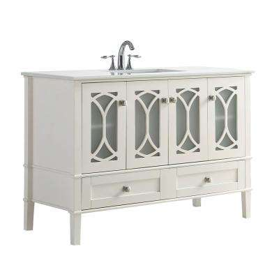 Paige 48 in. W x 21.5 in. D x 34.5 in. H Vanity in Soft White with Engineered Stone Vanity Top in White with White Basin