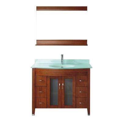 Alba 42 in. Vanity in Classic Cherry with Glass Vanity Top in Classic Cherry and Mirror