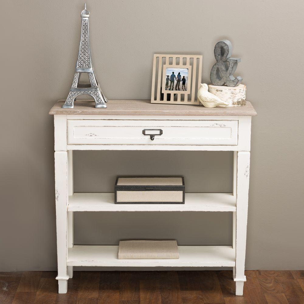 Attractive Baxton Studio Dauphine White And Light Brown Storage Console Table