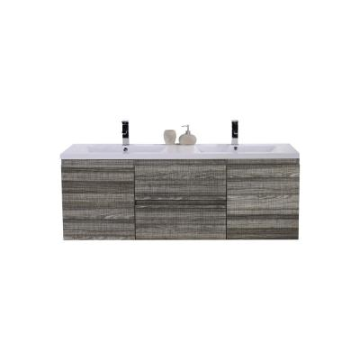 Bohemia 60 in. W Bath Vanity in High Gloss Ash Gray with Reinforced Acrylic Vanity Top in White with White Basins