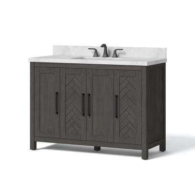 48 in. W x 34.5 in. H Bath Vanity in Dark Brown with Engineered Stone Vanity Top in White with White Basin