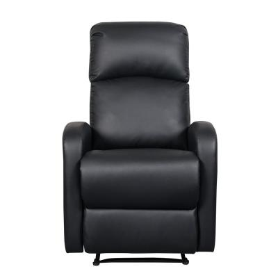 Black Faux Leather Slim Recliner