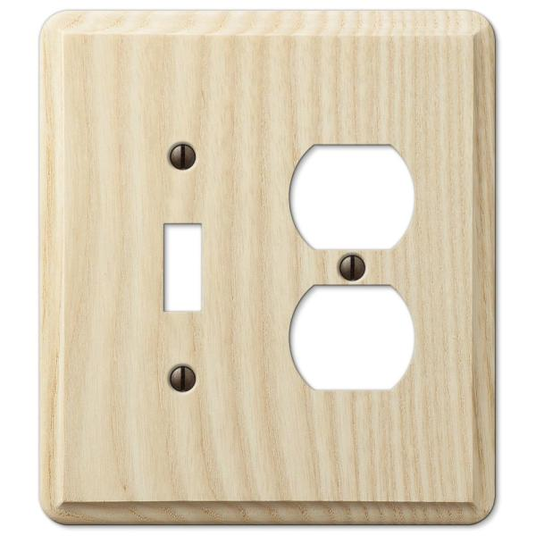 Contemporary 2 Gang 1-Toggle and 1-Duplex Wood Wall Plate - Unfinished Ash