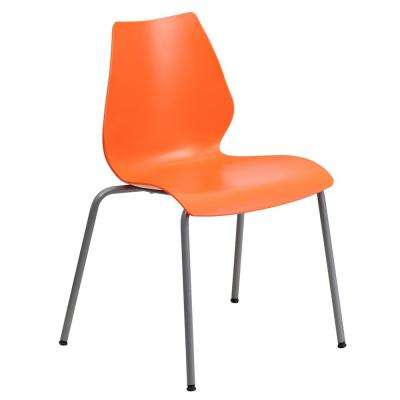 Hercules Series 770 lb. Capacity Orange Stack Chair with Lumbar Support and Silver Frame
