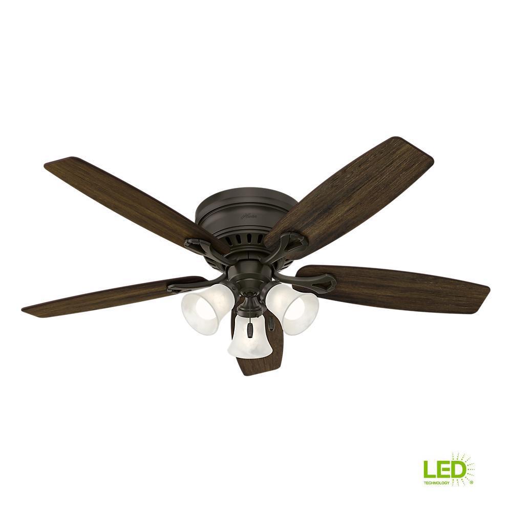 Hunter Oakhurst 52 In Led Indoor Low Profile New Bronze Ceiling Fan With Light Kit
