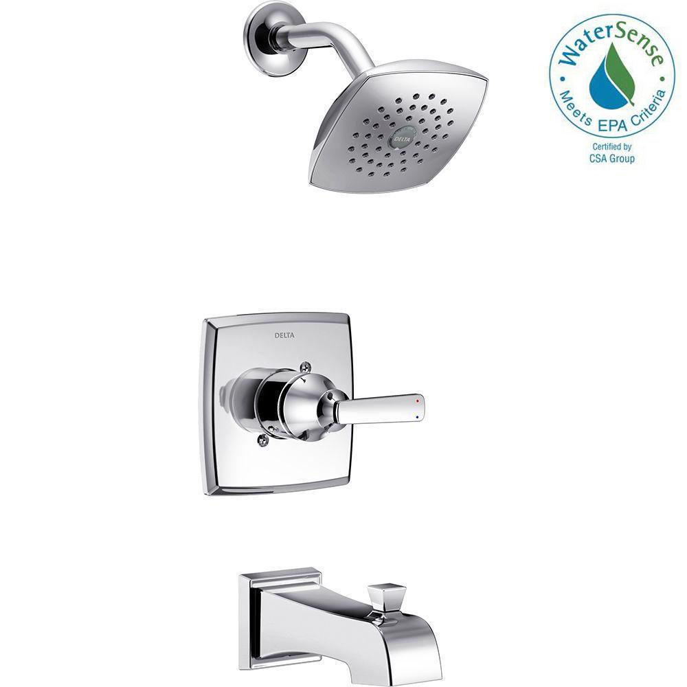 Delta Ashlyn 1 Handle Pressure Balance Tub And Shower Faucet Trim Kit In Chrome Valve Not Included