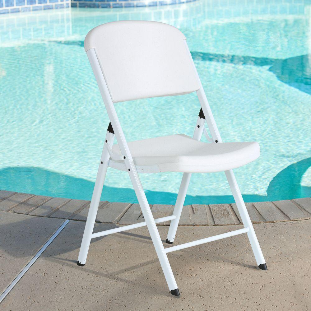 Lifetime White Plastic Seat Metal Frame Outdoor Safe Folding Chair (Set of 4)
