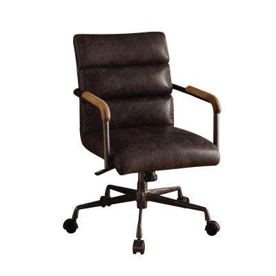 Harith Antique Ebony Top Grain Leather Office Chair