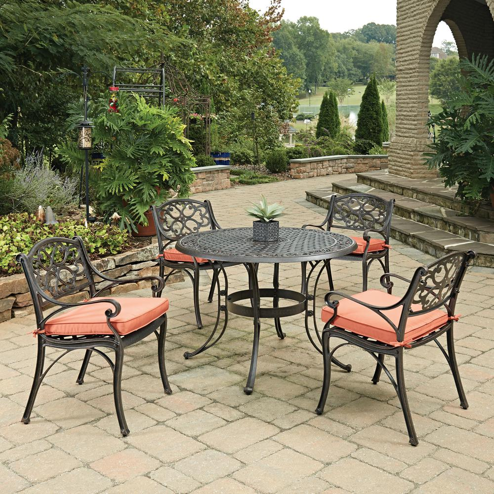 Cast Aluminum Patio Furniture Heart Pattern: Home Styles Biscayne Rust Bronze 5-Piece Cast Aluminum
