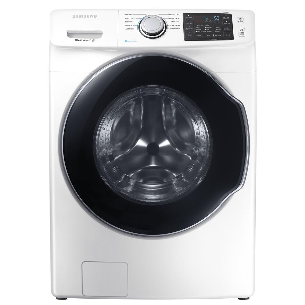 Samsung 4 5 cu  ft  High Efficiency Front Load Washer with Steam in White,  ENERGY STAR