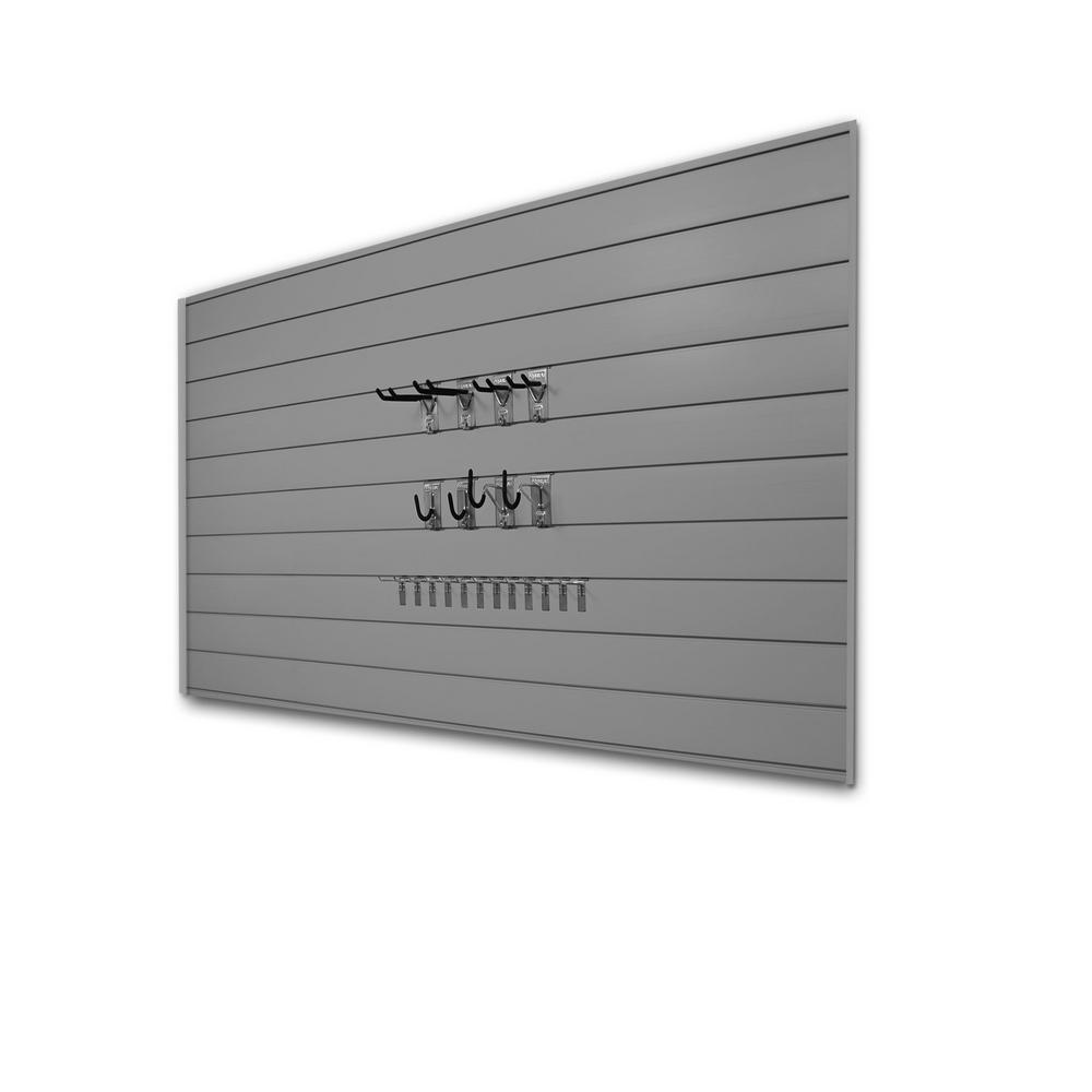 PVC Slatwall 8 ft. x 4 ft. Light Gray Hook Kit Bundle (30-Piece)