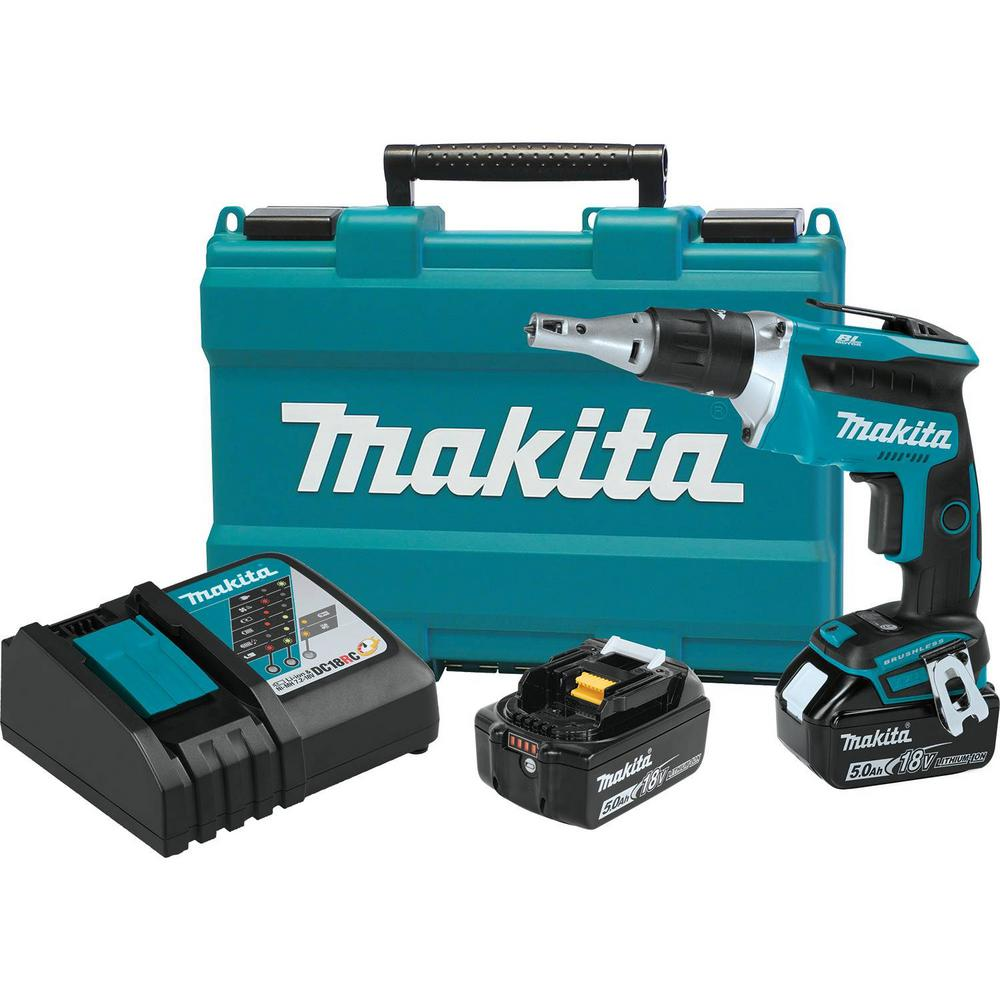 Makita 18-Volt 5.0Ah LXT Lithium-Ion Brushless Cordless Drywall Screwdriver Kit