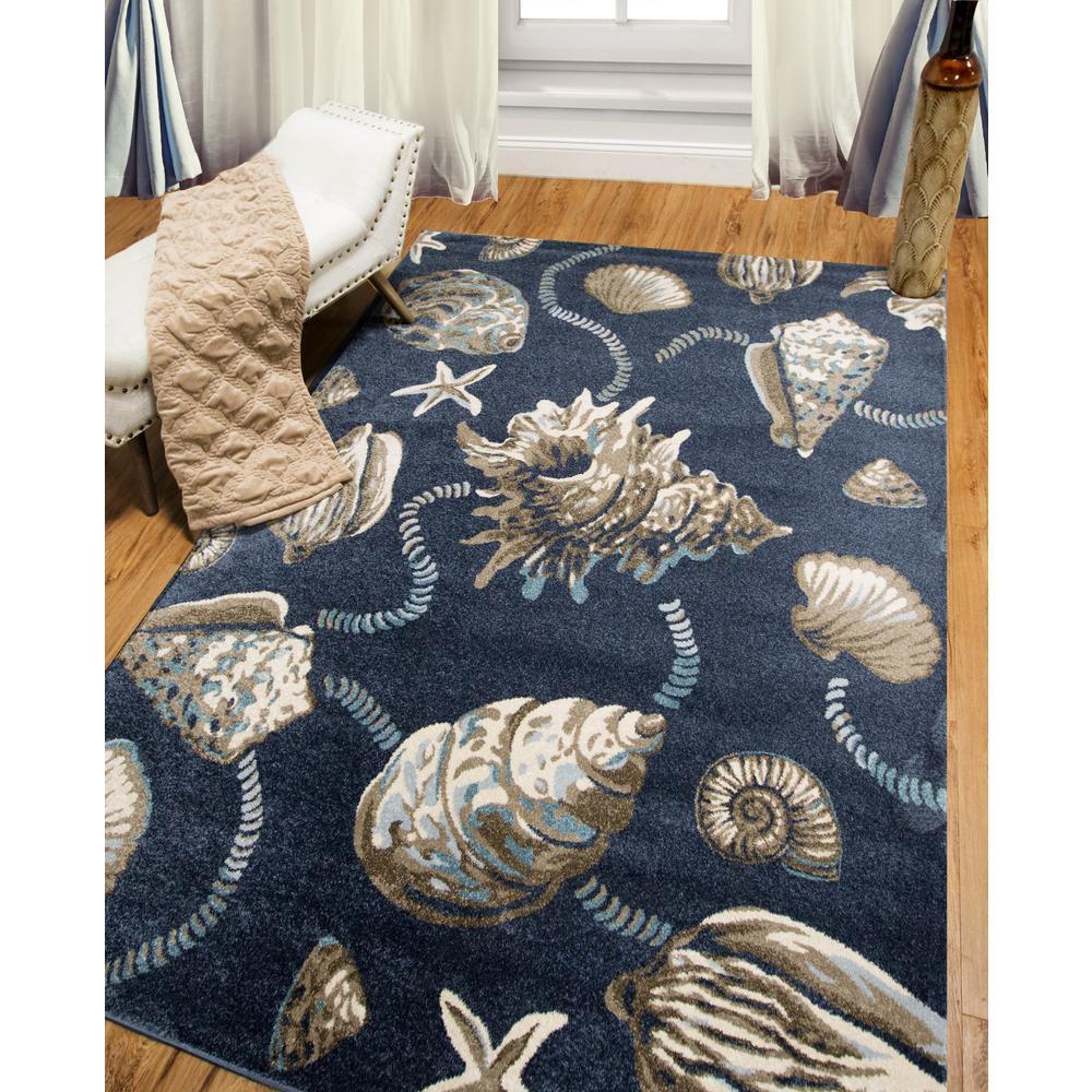 Bazaar Sea Shells Blue/Cream 5 ft. 2 in. x 7 ft. 2 in. Indoor Area Rug