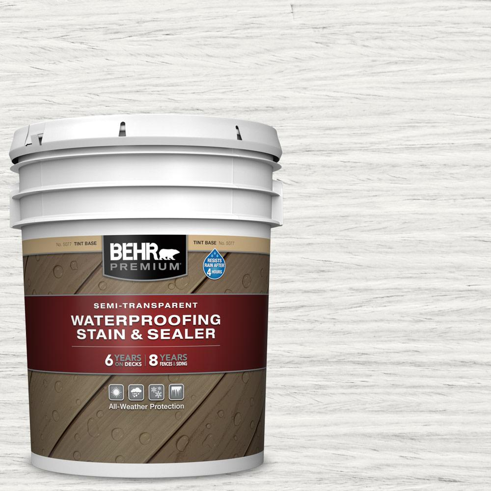 BEHR Premium 5 gal. #ST-210 Ultra Pure White Semi-Transparent Waterproofing Exterior Wood Stain and Sealer