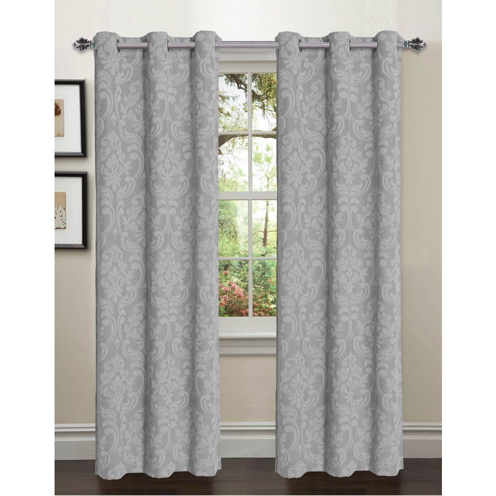Window Elements Semi-Opaque Elinor Linen Blend Jacquard 84 in. L Grommet Curtain Panel Pair, Grey (Set of 2)