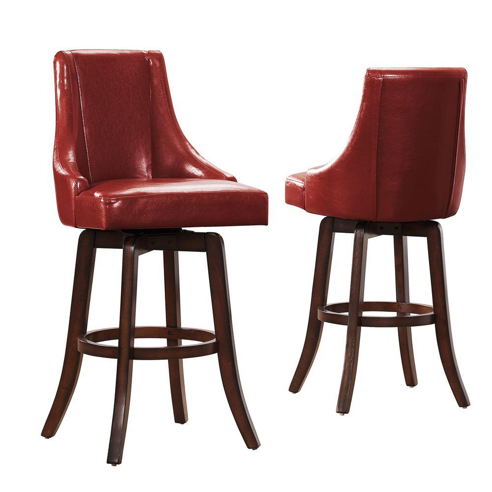 HomeSullivan Imperia 29 in. Red Swivel Cushioned Bar Stool (Set of 2)