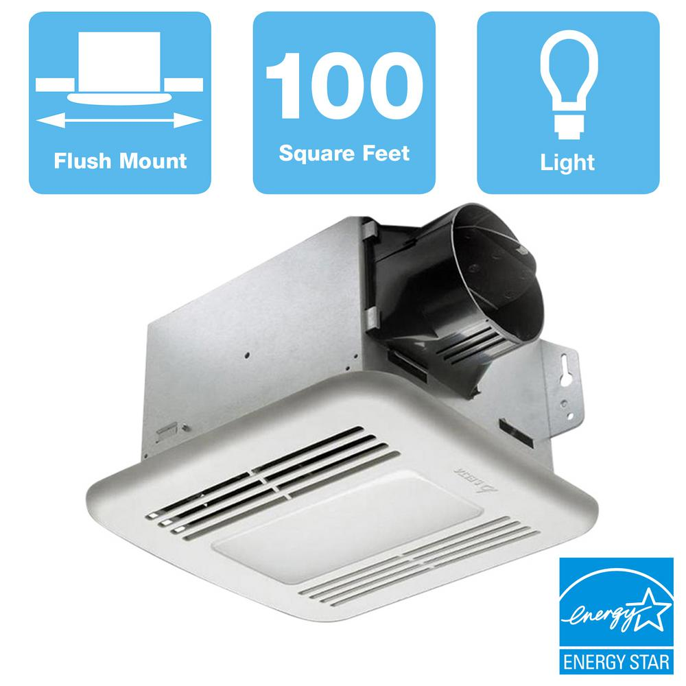 Delta Breez GreenBuilder Series 100 CFM Ceiling Bathroom Exhaust Fan with Dimmable LED Light, ENERGY STAR