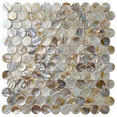 Conchella Penny Natural 11-1/8 in. x 11-5/8 in. x 2 mm Natural Seashell Mosaic Tile